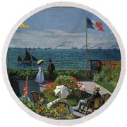 Garden At Sainte-adresse Round Beach Towel