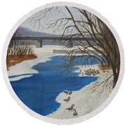 Geese On The Grand River Round Beach Towel