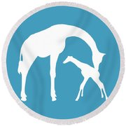 Giraffe In White And Turquoise Round Beach Towel