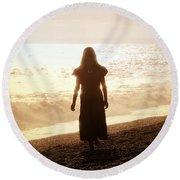 Girl On Beach Round Beach Towel