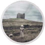 Girl With Sheeps Round Beach Towel