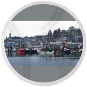 Gloucester Fishing Boats Round Beach Towel