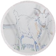 Goat Drawing Round Beach Towel