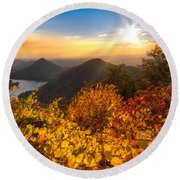 Golden Hour Round Beach Towel by Debra and Dave Vanderlaan