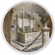 Granada Cathedral Doors And Other Details Round Beach Towel