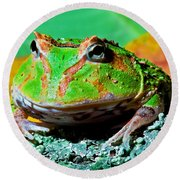 Green Fantasy Frogpacman Frog Round Beach Towel