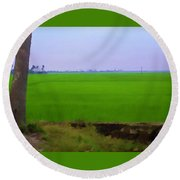 Green Fields With Birds Round Beach Towel