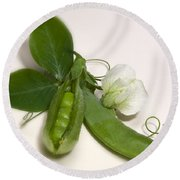 Green Peas In Pod With White Flower Round Beach Towel