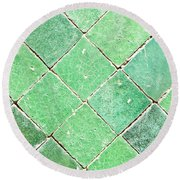 Green Tiles Round Beach Towel