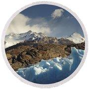 Grey Glacier In Chilean National Park Round Beach Towel