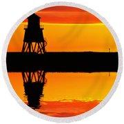 Groyne Lighthouse At Sunrise Round Beach Towel