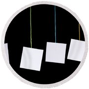Hanging White Tags Round Beach Towel
