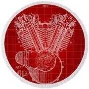 Harley Davidson Engine Patent 1919 - Red Round Beach Towel