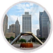 Hart Plaza Detroit Round Beach Towel
