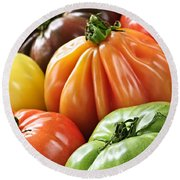 Heirloom Tomatoes Round Beach Towel