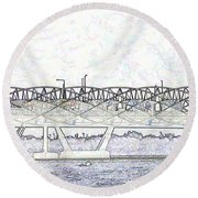 Helix Bridge And Road Bridge Next To Each Other In Singapore Round Beach Towel