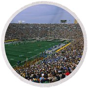 High Angle View Of A Football Stadium Round Beach Towel