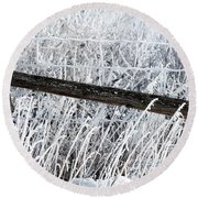 Hoar Frost On The Fence Round Beach Towel