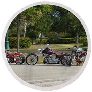 Hogs And Choppers Round Beach Towel