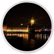 Houses Of Parliament - London Round Beach Towel
