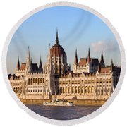 Hungarian Parliament Building In Budapest Round Beach Towel