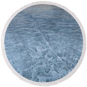 Ice On Abraham Lake Round Beach Towel
