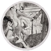 Illustration From La Maison Tellier By Guy De Maupassant Round Beach Towel