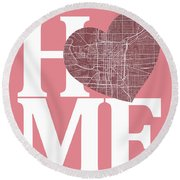 Indianapolis Street Map Home Heart - Indianapolis Indiana Road M Round Beach Towel