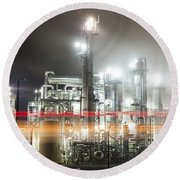 Industrial Smokestacks Of Central California Round Beach Towel