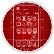 iPhone Patent - Red Round Beach Towel
