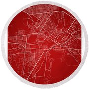 Kabul Street Map - Kabul Afghanistan Road Map Art On Colored Bac Round Beach Towel
