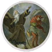 King Lear, 19th Century Round Beach Towel