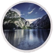 Lake Braies And Dolomite Alps, Northern Round Beach Towel