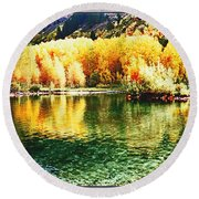 Lake Reflection In Fall Round Beach Towel