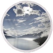 Lake With Clouds Round Beach Towel