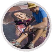 Lake Worth Street Painting Festival Round Beach Towel