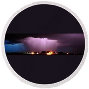 Late Evening Nebraska Thunderstorm Round Beach Towel