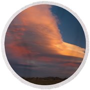 Lenticular Clouds Over Alabama Hills Round Beach Towel