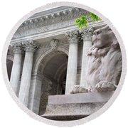 Lion New York Public Library Round Beach Towel