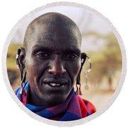 Maasai Man Portrait In Tanzania Round Beach Towel
