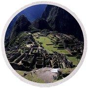 Machu Picchu Peru Round Beach Towel