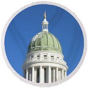 Maine State Capitol Building In Augusta Round Beach Towel by Keith Webber Jr