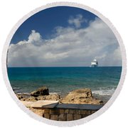 Majesty Of The Seas At Coco Cay Round Beach Towel