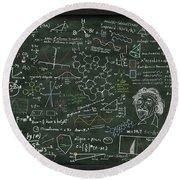 Maths Formula On Chalkboard Round Beach Towel by Setsiri Silapasuwanchai