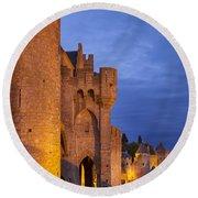 Medieval Carcassonne Round Beach Towel by Brian Jannsen