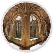 Medieval Monastery Cloister Round Beach Towel