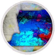 Memphis Map And Skyline Watercolor Round Beach Towel