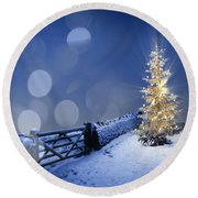 Merry Christmas Round Beach Towel