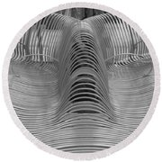 Metal Strips In Black And White Round Beach Towel