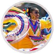 Mexican Folk Dancers Round Beach Towel
